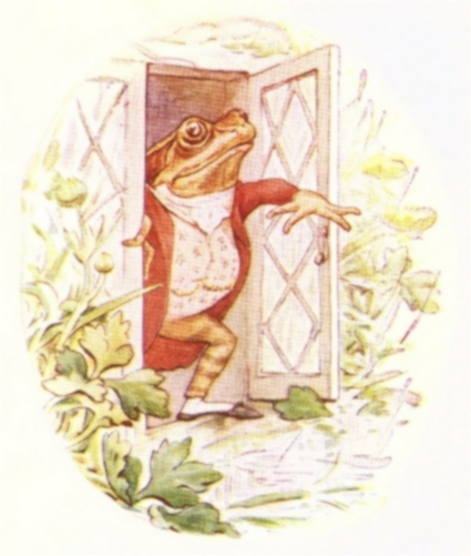 Vintage Beatrix Potter illustration of frog in waistcoat opening window, from Jeremy Fisher short story for kids