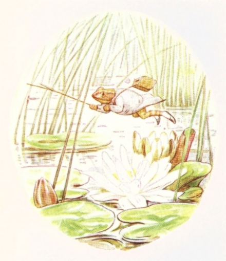 Vintage Beatrix Potter illustration of frog and lotus, from Jeremy Fisher short story for kids