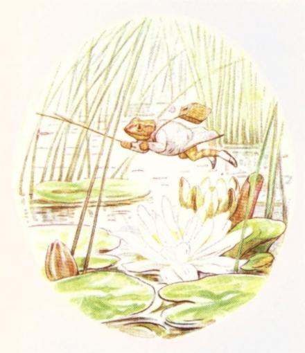 Vintage Beatrix Potter illustration of frog and lotus, from Jeremy Fisher short story for kids