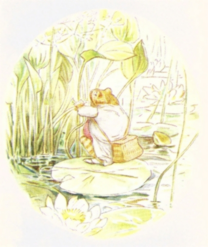 Vintage Beatrix Potter illustration of frog on day trip to pond, from Jeremy Fisher short story for kids