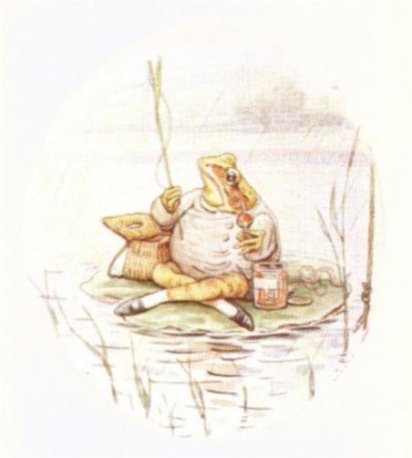 Vintage Beatrix Potter illustration of frog on pond lily pad, from Jeremy Fisher short story for kids