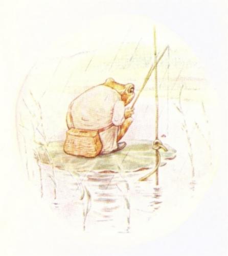 Vintage Beatrix Potter illustration of frog's back fishing, from Jeremy Fisher short story for kids