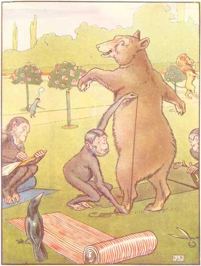 Original color illustration of monkey measuring bear, by L. Leslie Brooke for the bedtime story Johnny Crow's Garden