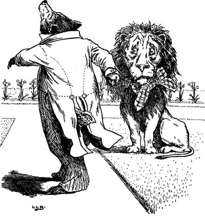 Original illustration of lion and bear, by L. Leslie Brooke for the bedtime story Johnny Crow's Garden