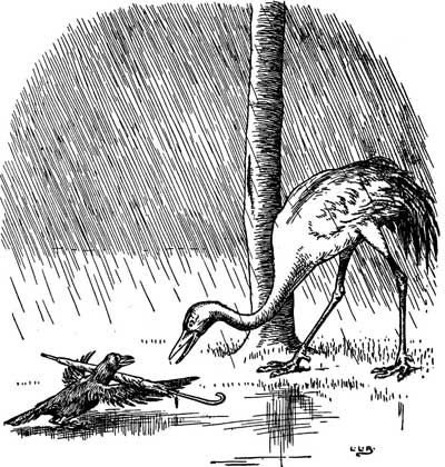 Original illustration of crane and crow in the wet rain, by L. Leslie Brooke for the bedtime story Johnny Crow's Garden