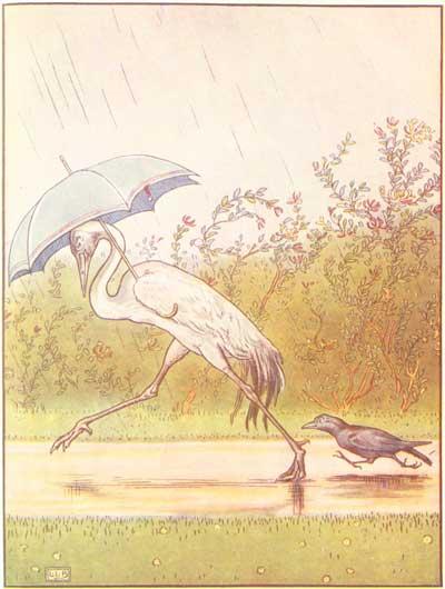Original color illustration of crane with umbrella, by L. Leslie Brooke for the bedtime story Johnny Crow's Garden