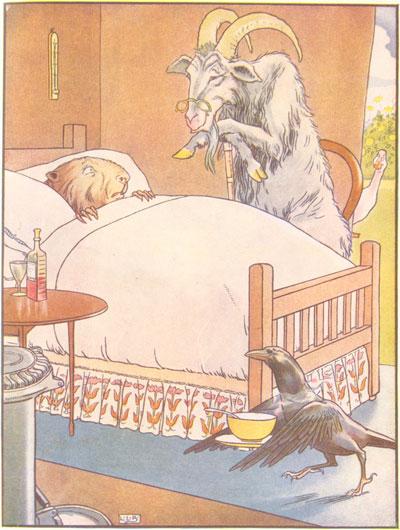 Original color illustration of doctor goat, by L. Leslie Brooke for the bedtime story Johnny Crow's Garden