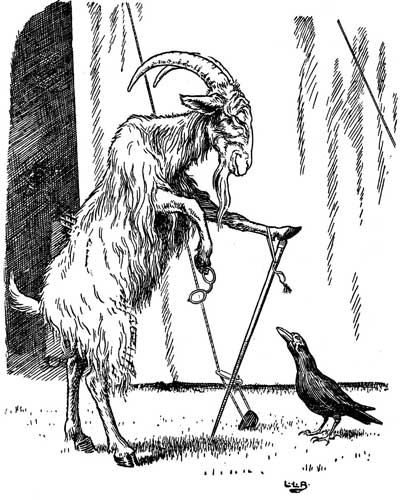 Original illustration of goat with walking stick, by L. Leslie Brooke for the bedtime story Johnny Crow's Garden
