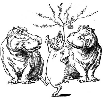 Original illustration of hippos and dancing pig, by L. Leslie Brooke for the bedtime story Johnny Crow's Garden