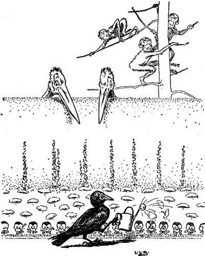 Original illustration of crow gardening by L. Leslie Brooke for the kids short story Johnny Crow's Garden