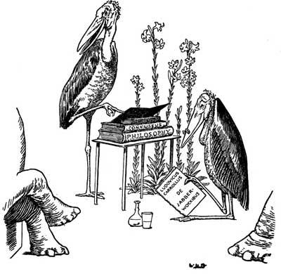 Original illustration of stork giving a talk, by L. Leslie Brooke for the bedtime story Johnny Crow's Garden