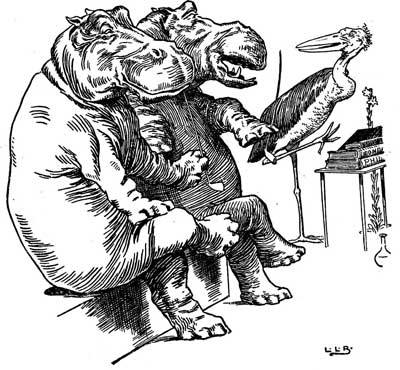 Original illustration of hippos listening to stork, by L. Leslie Brooke for the bedtime story Johnny Crow's Garden
