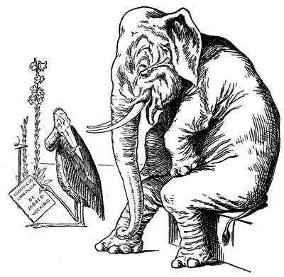 Original illustration of elephant and stork, by L. Leslie Brooke for the bedtime story Johnny Crow's Garden