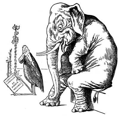 Original illustration of elephant and stork, by L. Leslie Brooke for the bedtime story Johnny Crow's Garden