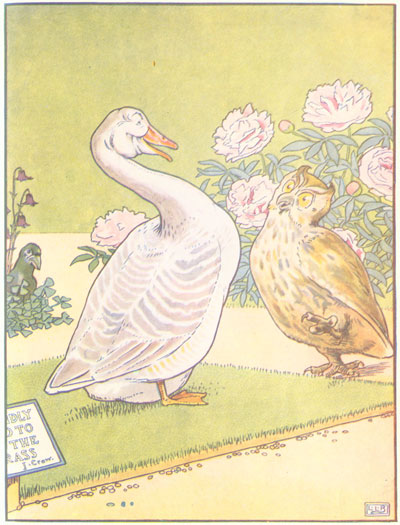 Original color illustration of goose and owl, by L. Leslie Brooke for the bedtime story Johnny Crow's Garden