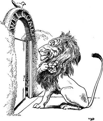 Original illustration of lion at door, by L. Leslie Brooke for the kids short story Johnny Crow's Garden