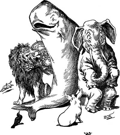 Original illustration of a happy whale, lion, elephant and pig, by L. Leslie Brooke for the bedtime story Johnny Crow's Garden
