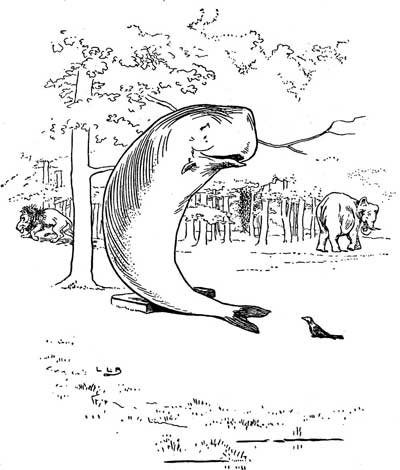 Original illustration of a whale resting against a tree, by L. Leslie Brooke for the bedtime story Johnny Crow's Garden