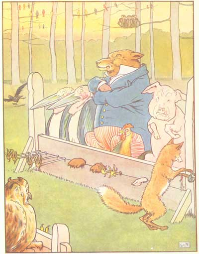 Original color illustration of animals in stocks, by L. Leslie Brooke for the bedtime story Johnny Crow's Garden