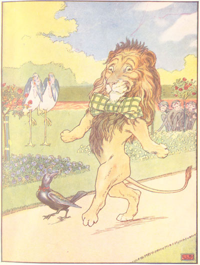 Original color illustration of lion with bow tie, by L. Leslie Brooke for the kids short story Johnny Crow's Garden
