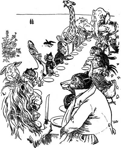 Original illustration of animals sitting at dinner table, by L. Leslie Brooke for the bedtime story Johnny Crow's Garden