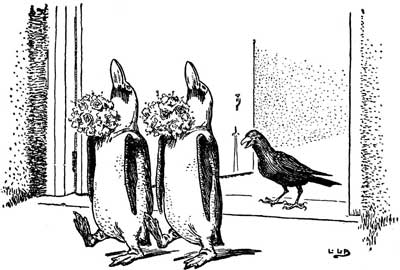 Original illustration of crow and two penguins, by L. Leslie Brooke for the bedtime story Johnny Crow's Garden