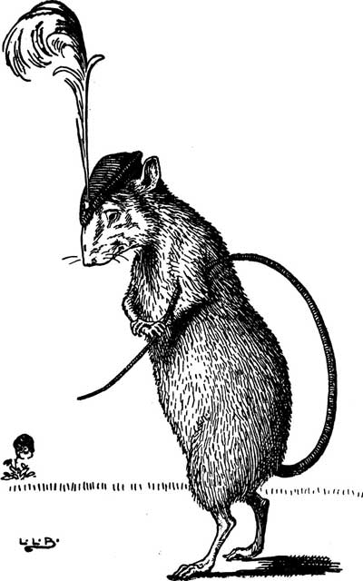 Original illustration of rat with hat, by L. Leslie Brooke for the kids short story Johnny Crow's Garden