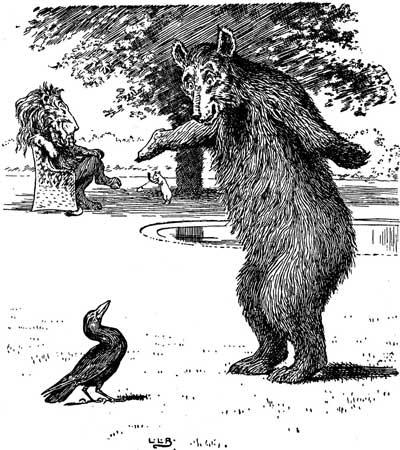 Original illustration of bear balancing, by L. Leslie Brooke for the kids short story Johnny Crow's Garden
