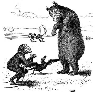 Original illustration of monkey and bear, by L. Leslie Brooke for the kids short story Johnny Crow's Garden