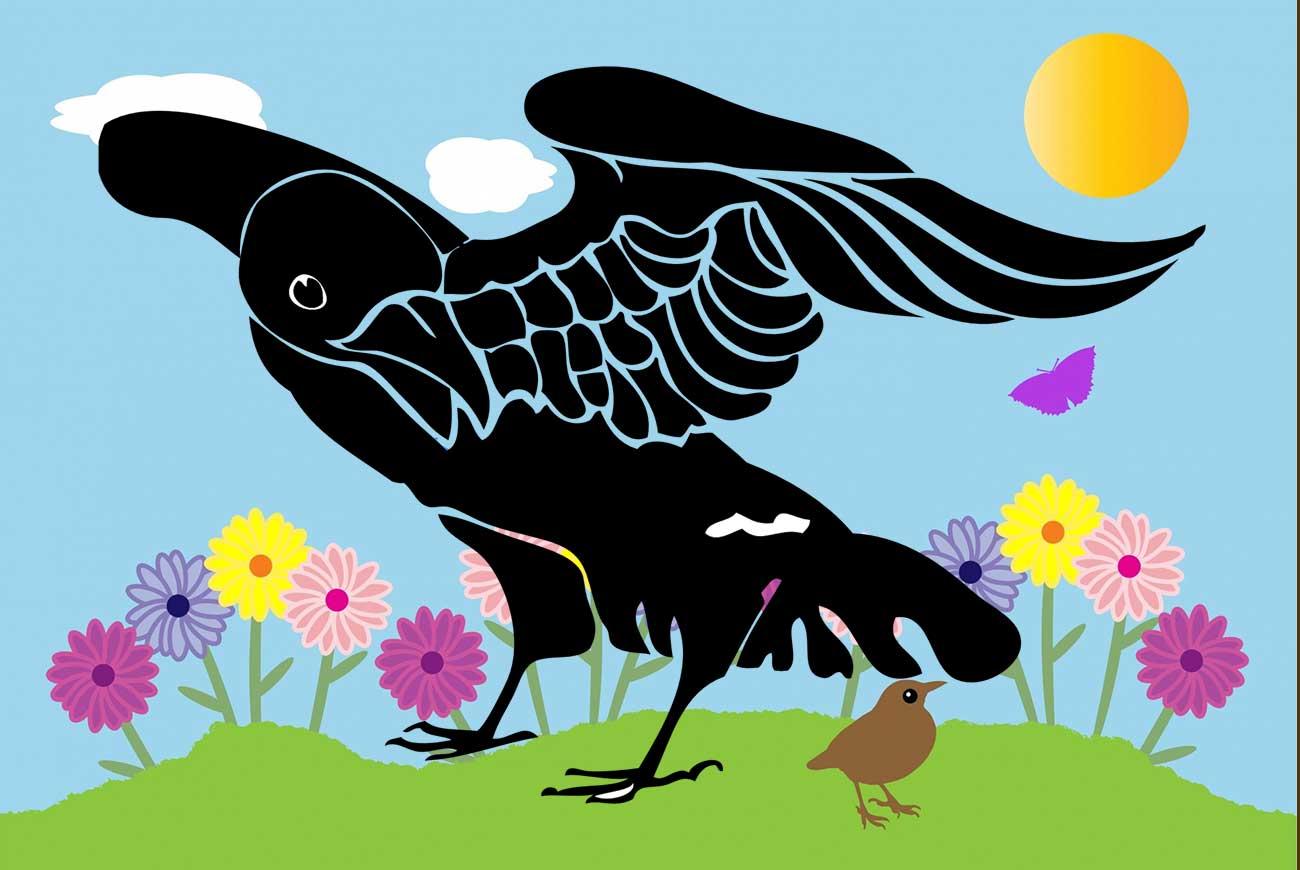 Illustration of black bird in garden for bedtime story Johnny Crow's Garden