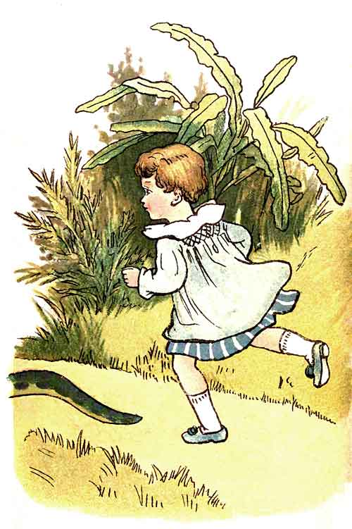 Original illustration of baby running in forest after snake, by EM and MF Taylor for the kids short story The Jungle Baby