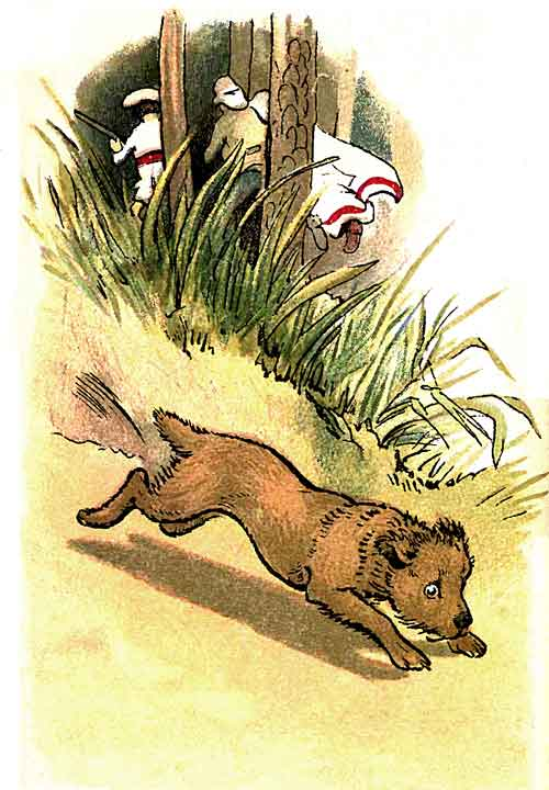 Original illustration of dog running in forest, by EM and MF Taylor for the kids short story The Jungle Baby