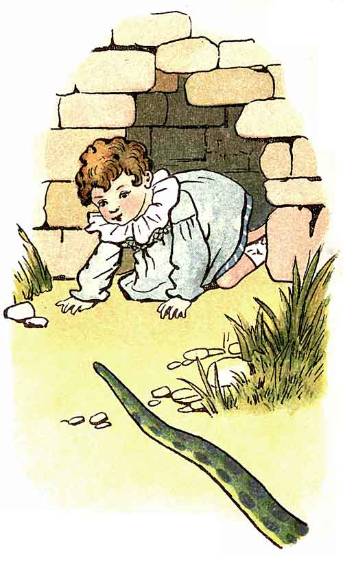 Original illustration of baby crawling through hole in wall, by EM and MF Taylor for the kids short story The Jungle Baby