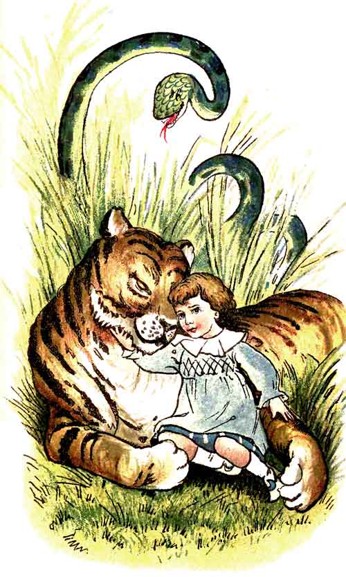 Original illustration of baby cuddling tiger in forest, by EM and MF Taylor for the kids short story The Jungle Baby