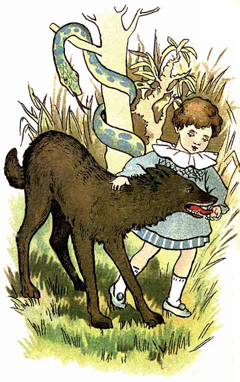 Original illustration of baby friends with wolf, by EM and MF Taylor for the kids short story The Jungle Baby