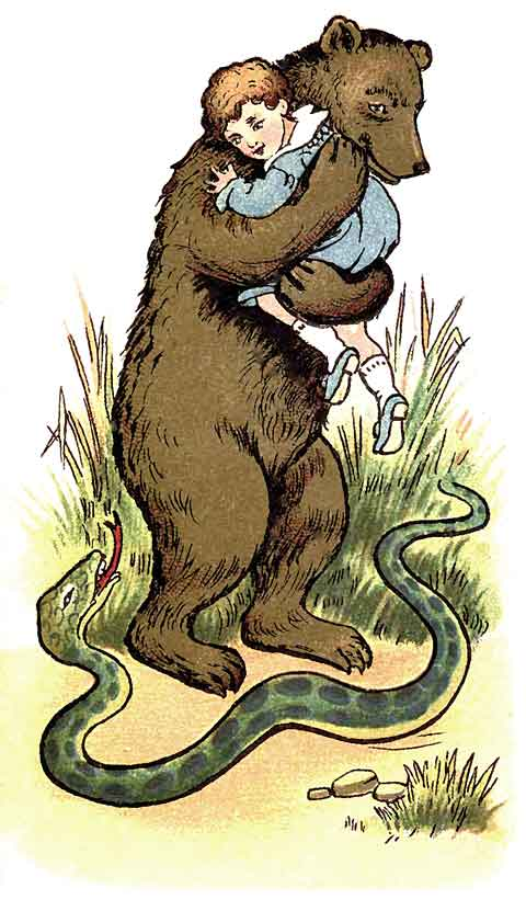 Original illustration of bear holding a baby, by EM and MF Taylor for the kids short story The Jungle Baby