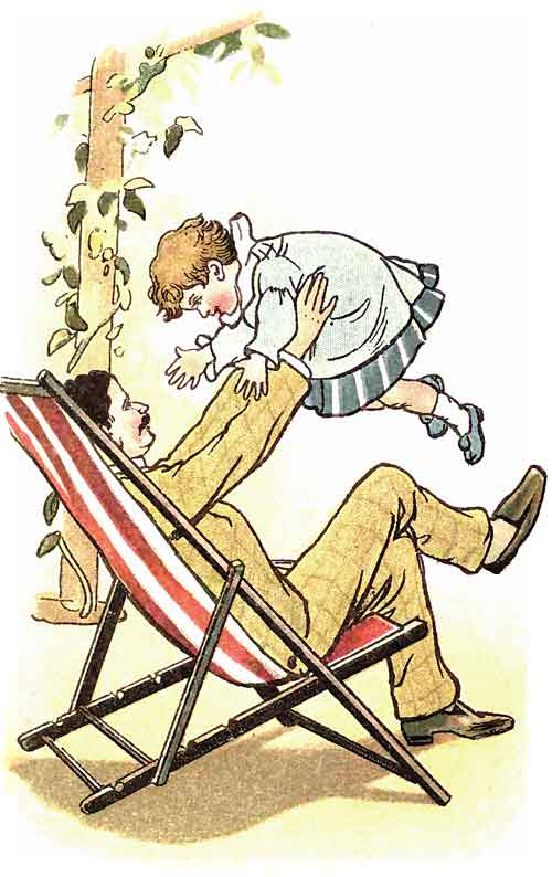 Original illustration of father and baby, by EM and MF Taylor for the kids short story The Jungle Baby