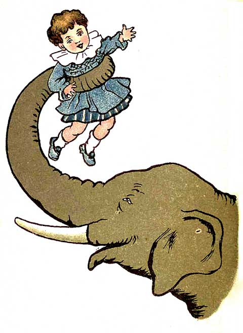 Original illustration of baby held in elephant's trunk, by EM and MF Taylor for the kids short story The Jungle Baby