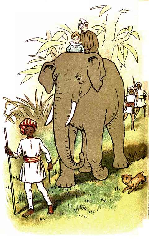 Original illustration of elephant and trainer in India, by EM and MF Taylor for the kids short story The Jungle Baby