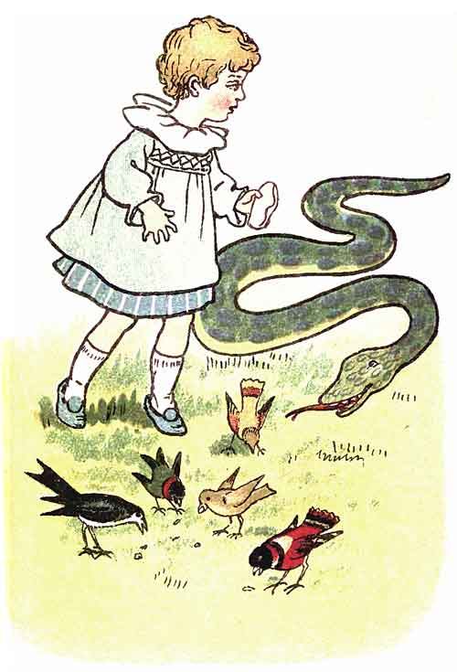 Original illustration of baby, snake and birds, by EM and MF Taylor for the kids short story The Jungle Baby