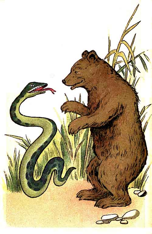 Original illustration of snake and bear, by EM and MF Taylor for the kids short story The Jungle Baby