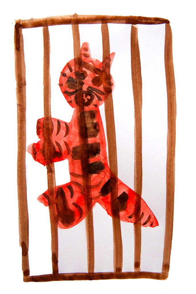 Painting of tiger in cage from short stories for kids The Magic Paintbrush