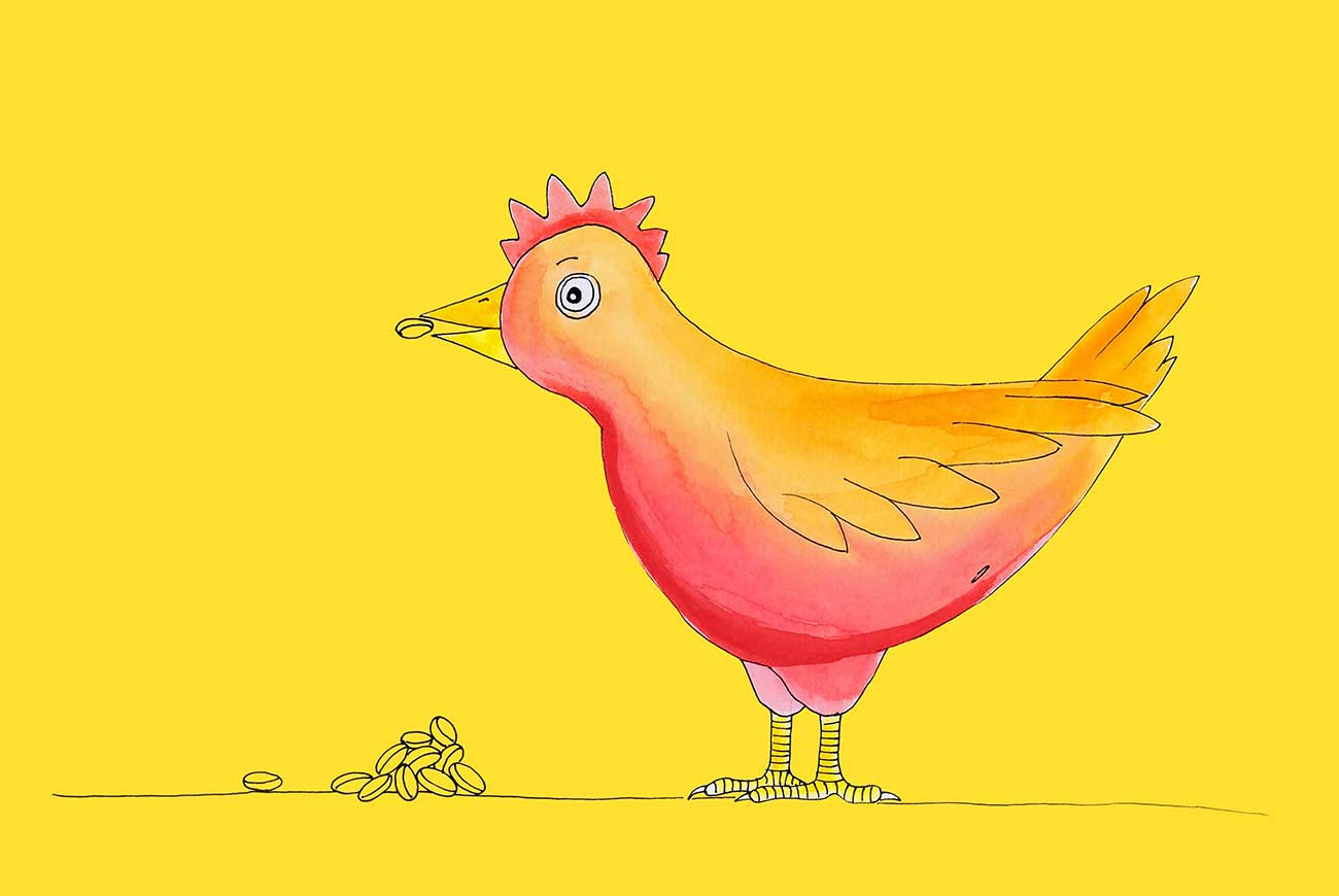 Illustration of chicken for the Little Red Hen bedtime story