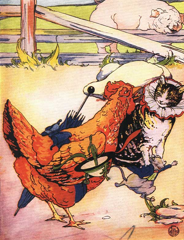 Original vintage illustration of hen and cat walking for children's short story The Little Red Hen