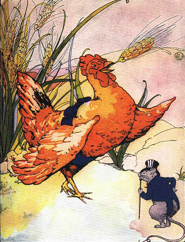 Original vintage illustration of hen with wheat in her beak for children's short story The Little Red Hen