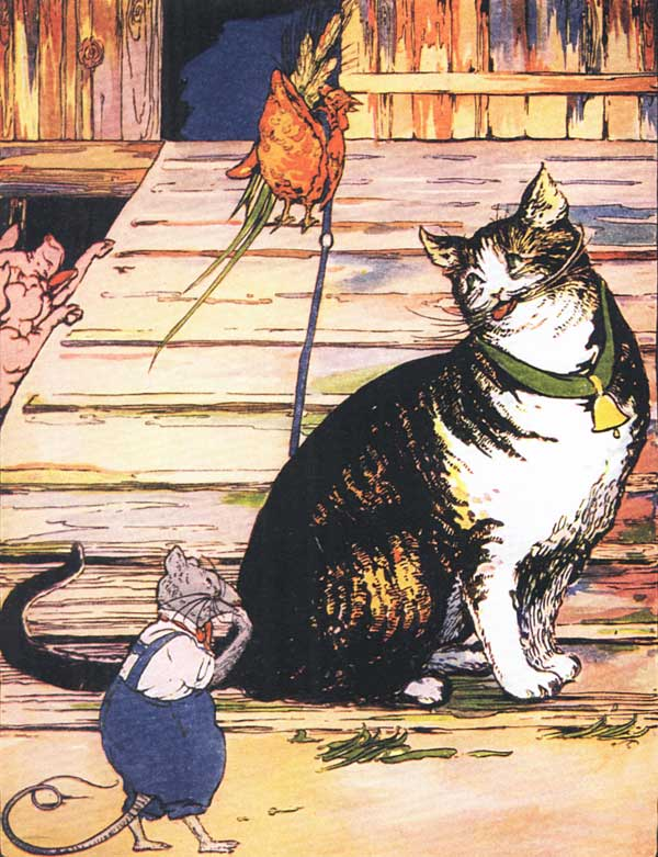 Original vintage illustration of rat and cat for children's short story The Little Red Hen