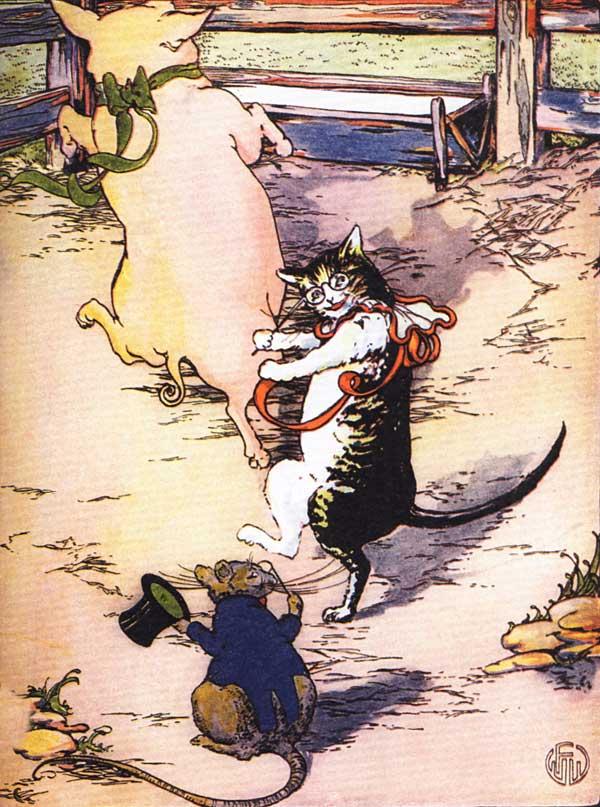 Original vintage illustration of rat, pig and cat dancing for children's short story The Little Red Hen