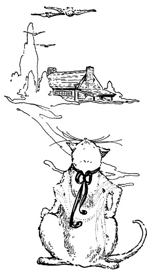 Original vintage illustration of cat smelling air for children's short story The Little Red Hen