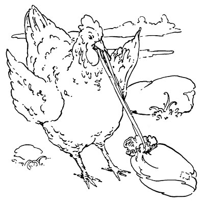 Original vintage illustration of hen carrying bag in beak for children's short story The Little Red Hen