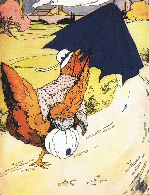 Original vintage illustration of hen carrying blue umbrella for children's short story The Little Red Hen